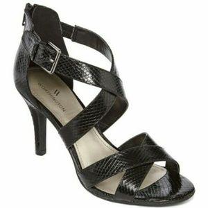 Worthington Black Cari Faux Snakeskin Sandals